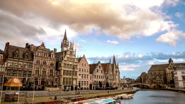 HD time-lapse: Ghent ancient town Belgium sunset video