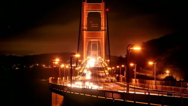 time-lapse golden gate bridge di san francisco - cavo d'acciaio video stock e b–roll