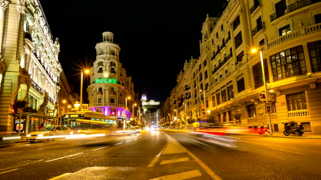 HD Timelapse: Gran Via Madrid Spain at dusk video