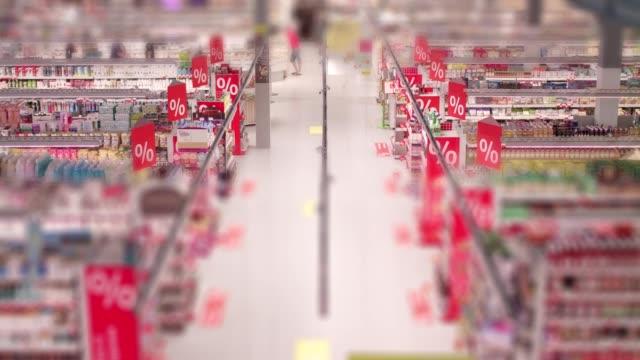 timelapse mataffär - dagligvaruhandel, hylla, bakgrund, blurred bildbanksvideor och videomaterial från bakom kulisserna