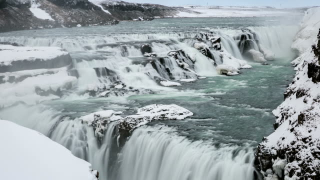 HD Time-lapse: Gulfoss Golden Falls waterfall Iceland in winter video
