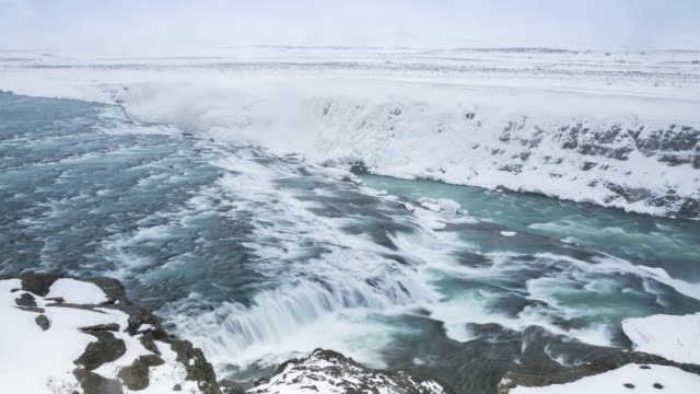 4K Time-lapse: Gulfoss Golden Falls waterfall Iceland in winter video