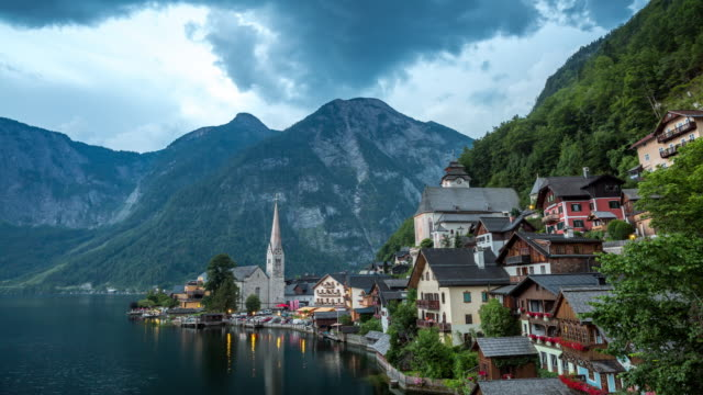 4K Time-lapse: Hallstatt Village Cityscape lake Austria at dusk video