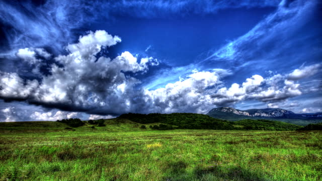stockvideo's en b-roll-footage met timelapse hdr. beautiful landscape with clouds - hdri landscape