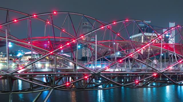 4K Timelapse: Helix Bridge in night. 4K Timelapse: Helix Bridge in night. singapore architecture stock videos & royalty-free footage
