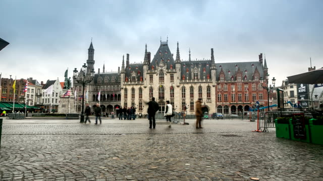 HD time-lapse: Historic Building at Market square Bruges Belgium video