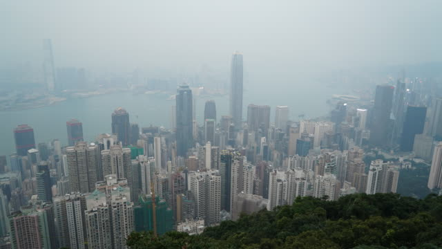 timelapse hong kong skyline city - tilt down stock videos & royalty-free footage