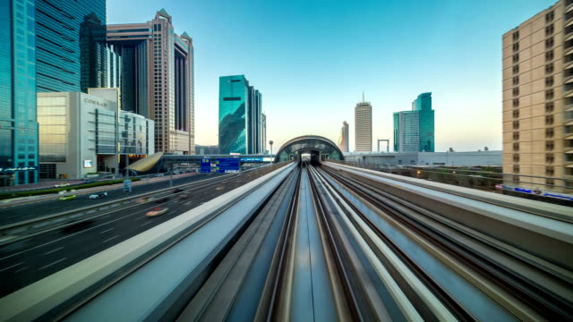 POV timelapse journey on the driverless elevated Rail Metro System, running alongside the Sheikh Zayed Road video