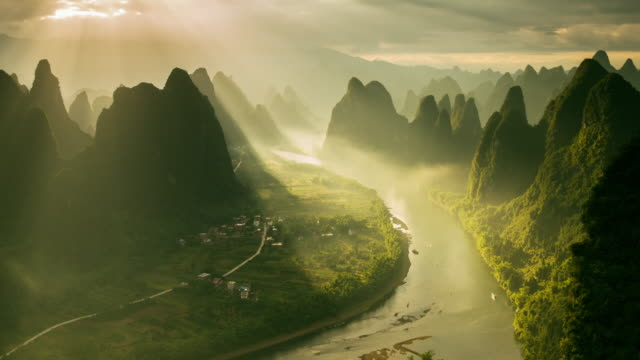 Timelapse karst formations and Li River in China video