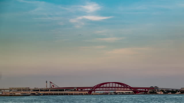 Time-lapse: Kobe harbour port and train station to airport sunset