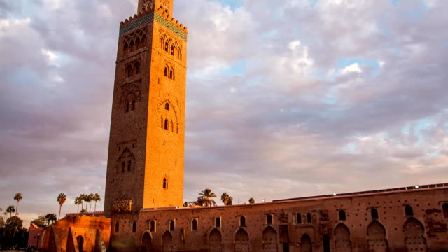 Timelapse Koutoubia Mosque in Marrakech at sunset on background of clouds, Morocco video