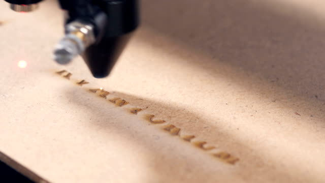 Timelapse. Laser engraving machining working video