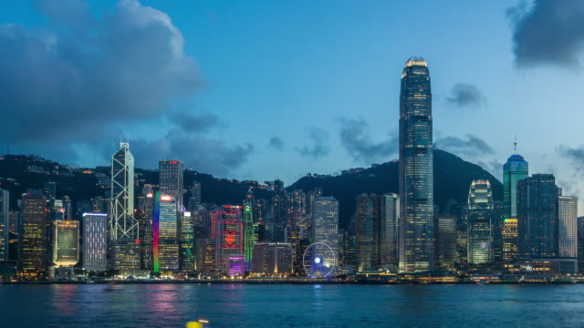 4K time-lapse : Lighting show at Victoria Harbor, Hong Kong video