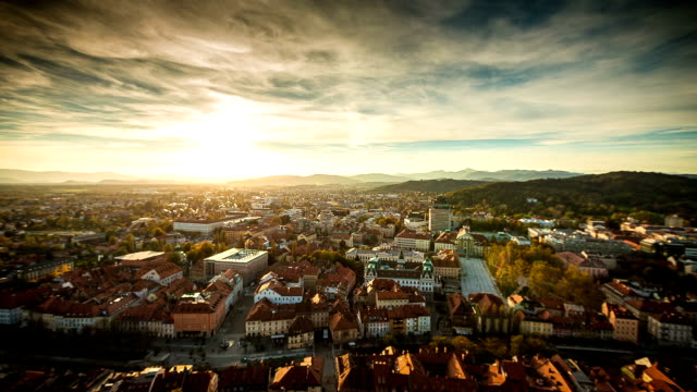 HD Timelapse: Ljubljana sunset video