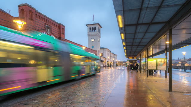 Time-lapse Malmo station downtown at night twilight in Sweden video
