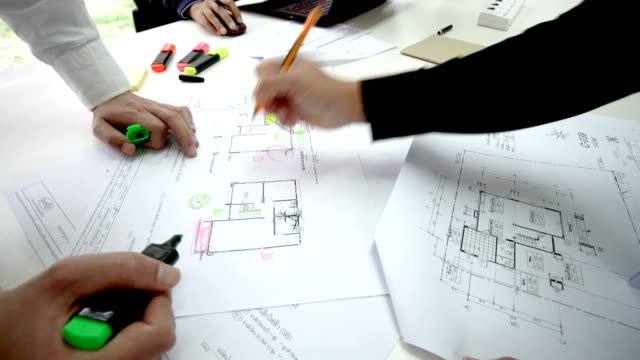 Timelapse - Man Working on Home Floor Plans in Office video