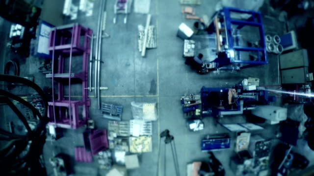 Timelapse manufacturing staff in production factory. video