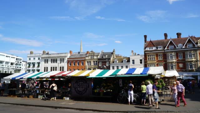 timelapse Market Square in Cambridge City, UK