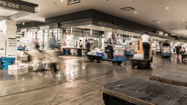 time-lapse: merchant workers and customers crowded at toyosu fish market in morning time,tokyo japan - banchi di pesci video stock e b–roll