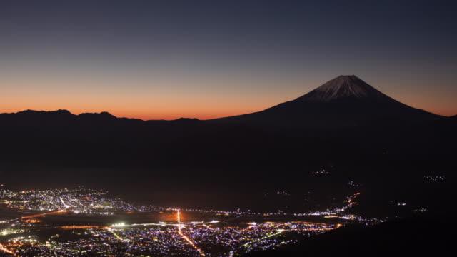 タイムラプス - 夜明けから日の出までの富士山 - 富士山点の映像素材/bロール