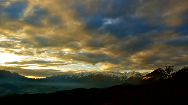 'TimeLapse': Mountain Sunrise Cloudy Sky Nature Landscape Panorama. video