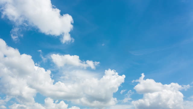 Time-lapse, Moving clouds above blue sky video