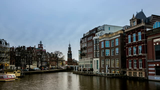 hd time-lapse: munttoren tower amsterdam night - blomstermarknad bildbanksvideor och videomaterial från bakom kulisserna