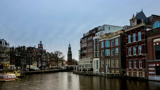 HD Time-lapse: Munttoren Tower Amsterdam Night video