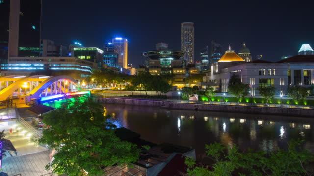 4K Time-lapse: Night cityscape of Boat Quay, Singapole video