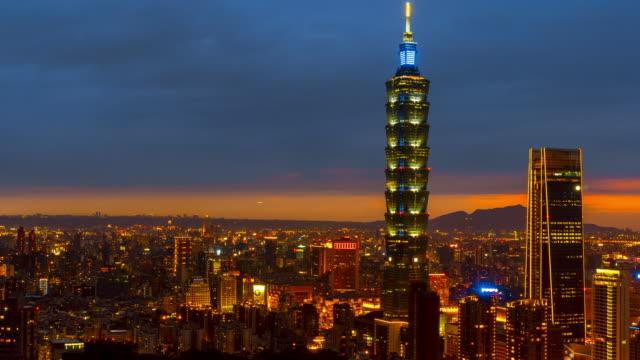 Time-lapse Night to Day taipei cityscape Taipei 101 building of Taipei financial city ,Taiwan