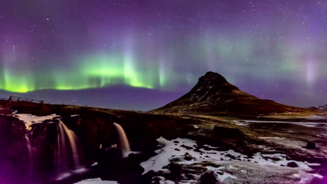 HD Time-lapse: Northern Light Aurora Borealis at Kirkjufell Iceland KP-8 video