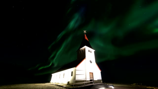HD Time-lapse: Northern Light Aurora Borealis at VIK Southern Iceland video