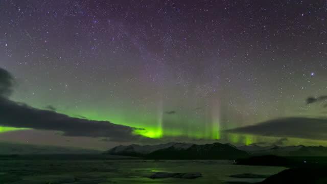 4K Time-lapse: Northern Light Aurora Borealis Vatnajokull Glacier Jokulsarlon Iceland 4K Time-lapse: Northern Light Aurora Borealis Vatnajokull Glacier Jokulsarlon lagoon Iceland, Apple ProRes 422 (HQ) 3840x2160 Format icecap stock videos & royalty-free footage