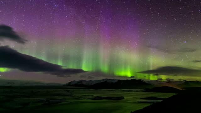 Time-lapse: Northern Light Aurora Borealis Vatnajokull Glacier Jokulsarlon lagoon Iceland video