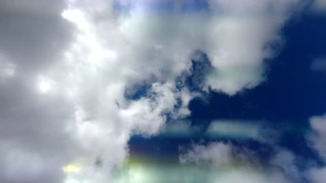 time-lapse of a blue sky with clouds taken through a prism for a distorted mirrored glitch effect. video
