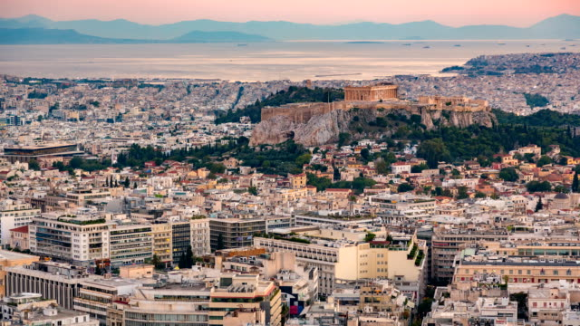 Timelapse of aerial view on Athens, Greece at sunset video