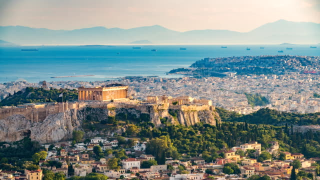 Timelapse of aerial view on Athens, Greece video