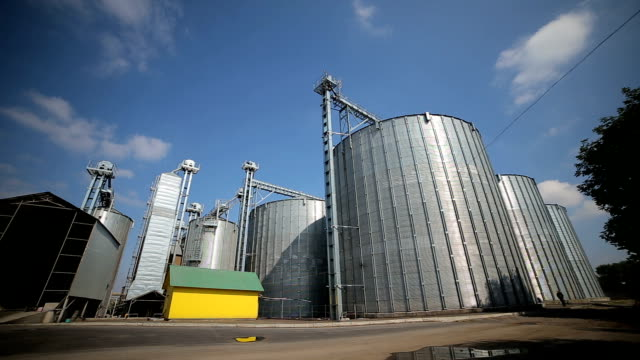 Timelapse of agriculture grain silos storage tank