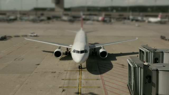 Timelapse of aircraft at airport being prepared for flight video