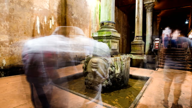 Timelapse of ancient water storage Basilica Cistern in Istanbul Turkey video