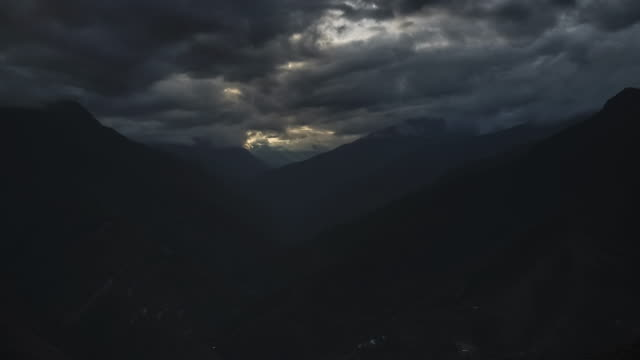 Timelapse of Andes Mountains landscape in Bolivia. Time lapse of sunlight and sun rays filling valley and rainforest scenery in South America