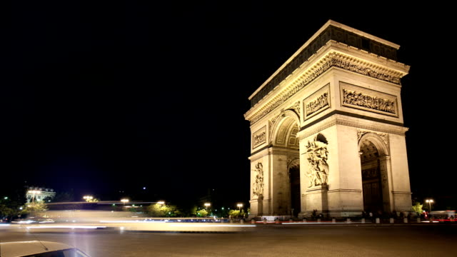 Timelapse of arc de triomphe in Paris video