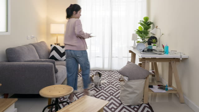 Timelapse of asian woman with pet set up room for work from home in quarantine social distance work remotely concept. New home office setup, cleaning, housework in new normal or next normal asia life.