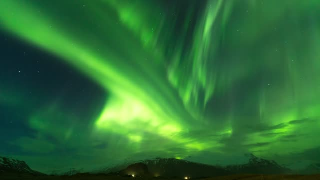 timelapse of aurora borealis or nothern light dancing on the sky in iceland - aurora boreale video stock e b–roll