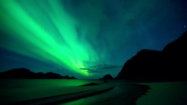 Timelapse of Aurora in Haukland Beach of Lofoten, Norway video