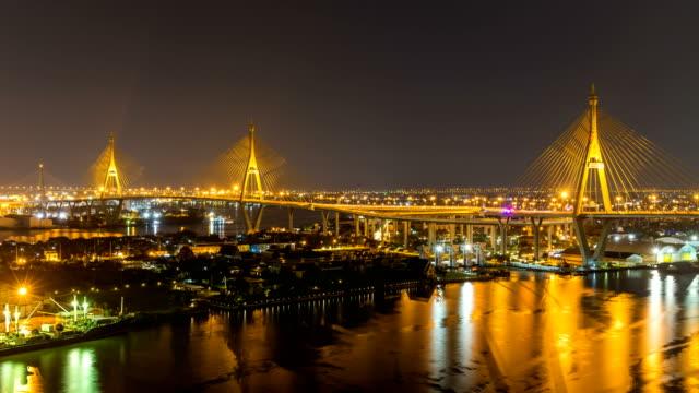 vídeos de stock e filmes b-roll de timelapse of bhumibol bridge is one of the most beautiful bridges in thailand and area view for bangkok.the name of this bridge comes from the name of the king of thailand. - dia de reis
