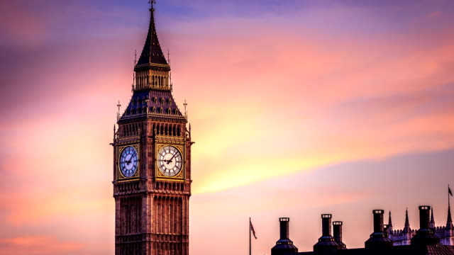Timelapse of Big Been clock tower in City of London 1080 video