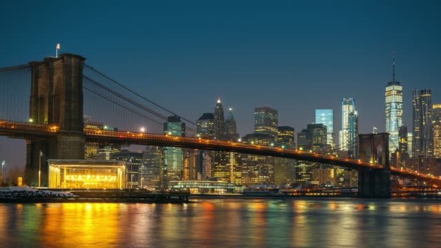 Timelapse of Brooklyn bridge and Manhattan at sunrise