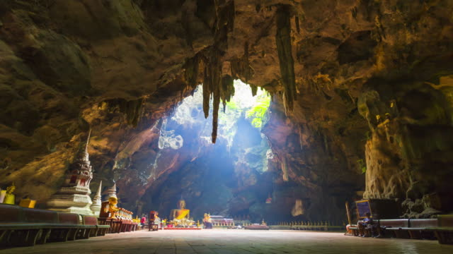 Timelapse of Buddha images in Khao Luang cave, Thailand video