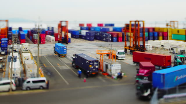 Time-lapse of busy container terminal in Fukuoka video